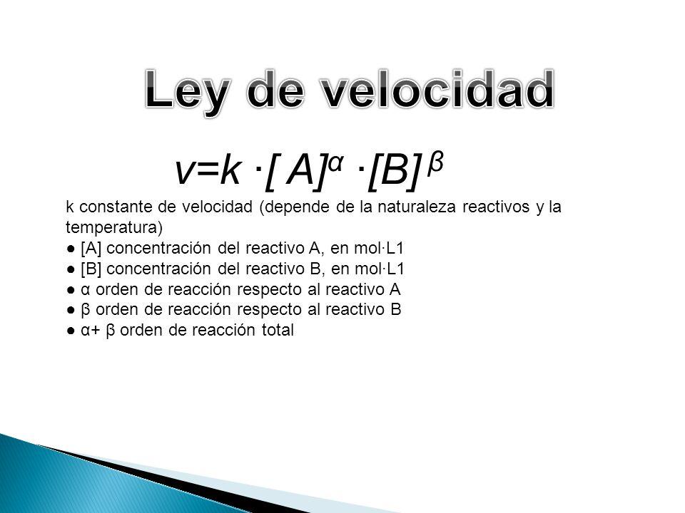 Ley de velocidad v=k ∙[ A]α ∙[B] β